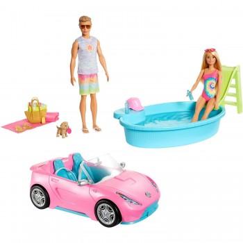 Набор Barbie, Кен и питомец с кабриолетом, бассейном и аксессуарами GJB71