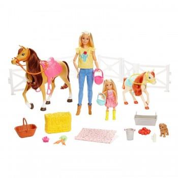 Набор Barbie Барби, Челси и любимые лошадки