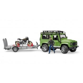 Игрушка Брудер Джип Land Rover с мотоциклом Ducati 02598
