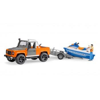 Игрушка Брудер Джип Land Rover с прицепом и водным скутером 02599