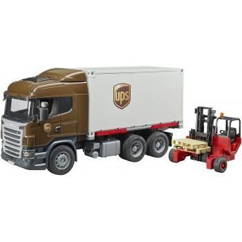 Игрушка Брудер Фургон UPS Scania с погрузчиком 03581