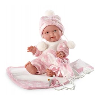Кукла Llorens Младенец с розовым одеялом, 26 см