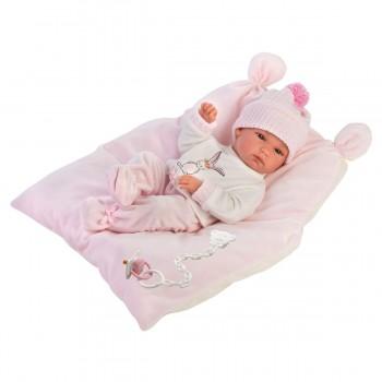 Пупс Llorens Малышка на розовом одеяльце 63556