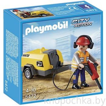 Playmobil 5472 Стройплощадка: Строитель с отбойным молотком
