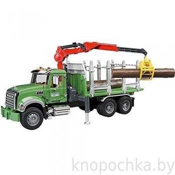 Игрушка Брудер Лесовоз MACK с портативным краном и брёвнами Bruder 02824
