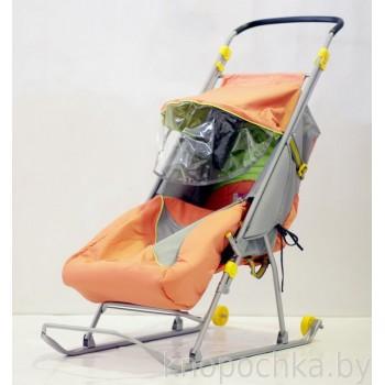 Санки-коляска детские складные Тимка Люкс с перекидной ручкой и колесом