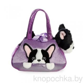 Мягкая игрушка Aurora Собачка Французский бульдог в сумочке, 20 см
