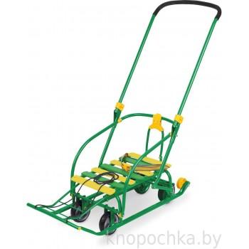 Складные санки Nikki 3 с выдвижными колесами зеленые