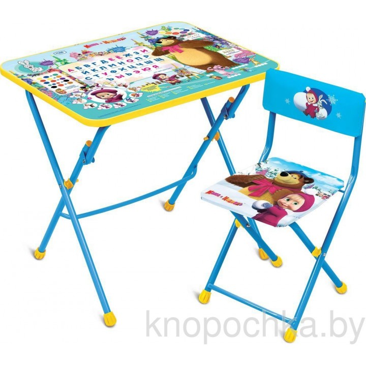 Детский столик и стульчик Ника КУ1 Азбука 2 Маша и Медведь