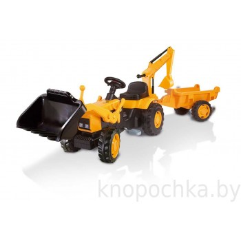 Педальный трактор-экскаватор с прицепом Smoby