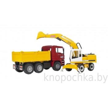 Игрушка Брудер Самосвал MAN с колёсным экскаватором Liebherr Bruder 02751