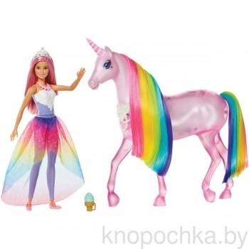 Набор Barbie кукла и Радужный единорог FXT26
