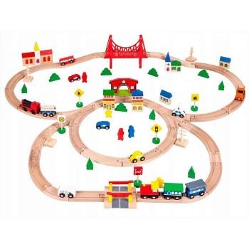 Детская деревянная железная дорога  Eco Toys (90 предметов)