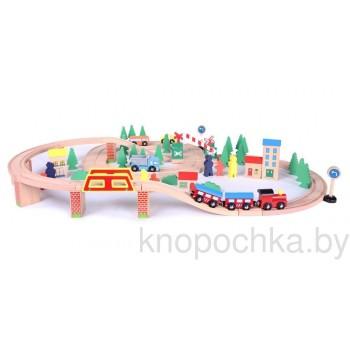 Деревянная железная дорога Eco Toys (75 предметов)