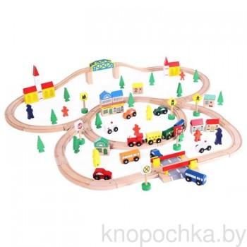 Деревянная железная дорога Woodentoys (100 предметов)