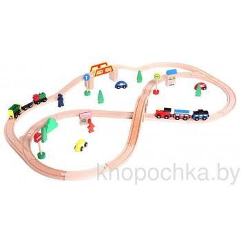 Деревянная железная дорога Eco Toys (49 предметов)