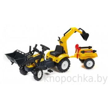 Педальный трактор экскаватор с прицепом Falk 2055CN