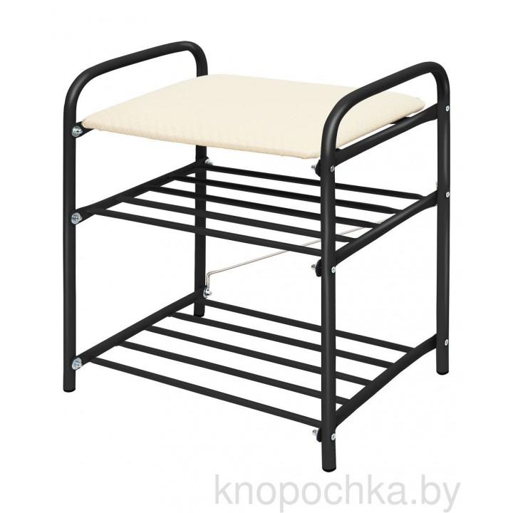 Банкетка-этажерка для обуви Ника Б1 (черный-слоновая кость)