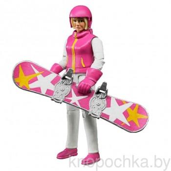 Фигурка сноубордистки с аксессуарами Брудер 60420