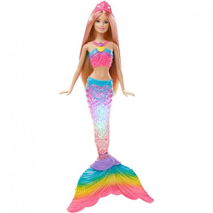 Кукла Барби Русалка Радужная со светящимся хвостом