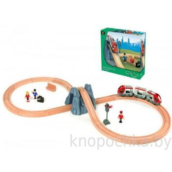 Деревянная детская железная дорога с поездом Тоннель в горе 26 элементов BRIO 33106