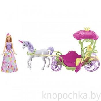 Набор Барби Dreamtopia Конфетная карета с единорогом и куклой
