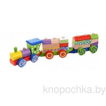 Конструктор Паровозик с кубиками Eco Toys