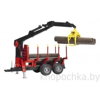 Игрушка Bruder Прицеп для перевозки леса с манипулятором и брёвнами 02252