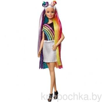 Кукла Барби с радужными блестящими волосами FXN96