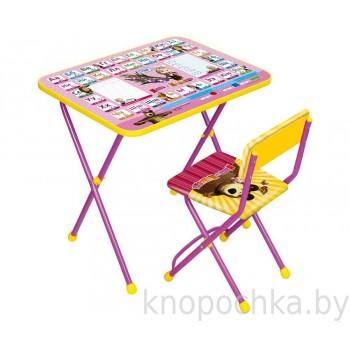 Детский столик и стульчик Ника КП2 Азбука3 Маша и Медведь
