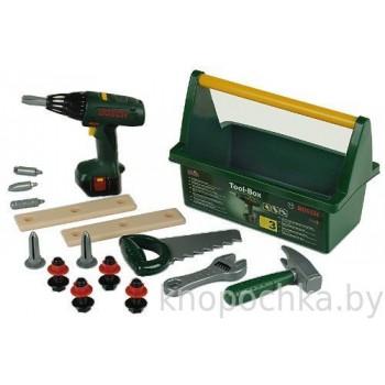 Набор инструментов Bosch с шуруповертом в ящике