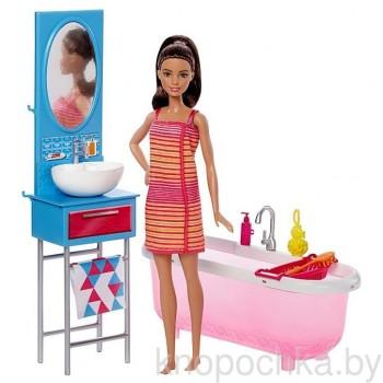 Игровой набор Barbie Ванная комната с куклой DVX53