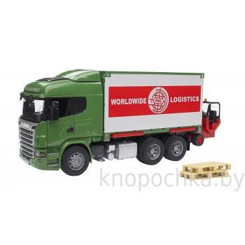 Игрушка Брудер Фургон Scania с погрузчиком и паллетами Bruder 03580