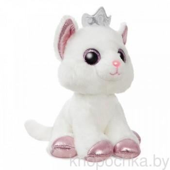Мягкая игрушка Aurora Белый котик с короной, 18 см
