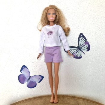 Одежда для Барби Сиреневые шорты и белая майка