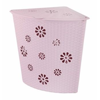 Корзина для белья угловая Плетёнка 45л розовая