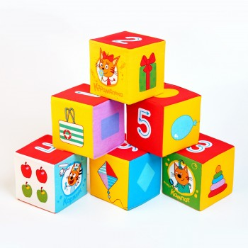 Мягкие кубики Мякиши Три кота Математика