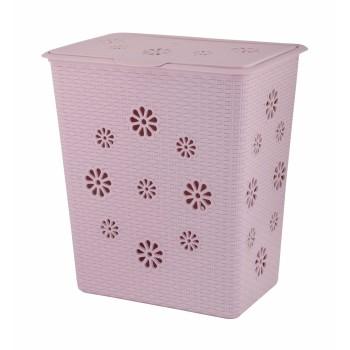 Корзина для белья Плетёнка 60л розовая