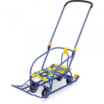 Санки детские Nikki 3 с выдвижными колесами синие
