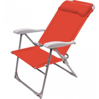 Кресло-шезлонг складное c подлокотниками и подголовником Ника К2