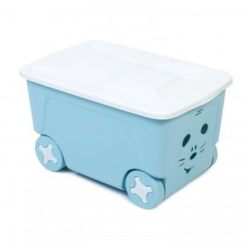 Ящик для игрушек Little Angel Cool на колесах 50л Голубой