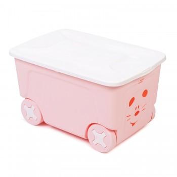 Ящик для игрушек Little Angel Cool на колесах 50л Розовый