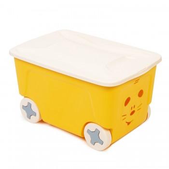 Ящик для игрушек Little Angel Cool на колесах 50л Желтый