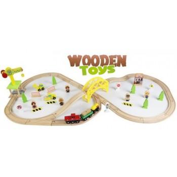 Деревянная железная дорога Wooden Toys Стройка (70 предметов)